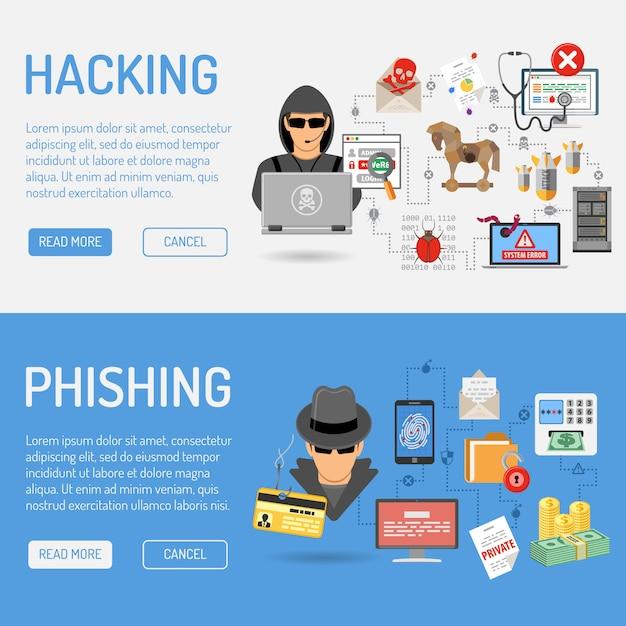 Banery Cyberprzestępczości Premium Wektorów