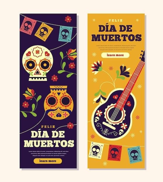 Banery Dia De Muertos W Płaskiej Konstrukcji Darmowych Wektorów