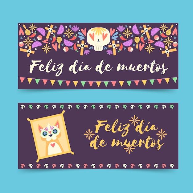 Banery Día De Muertos W Płaskiej Konstrukcji Darmowych Wektorów