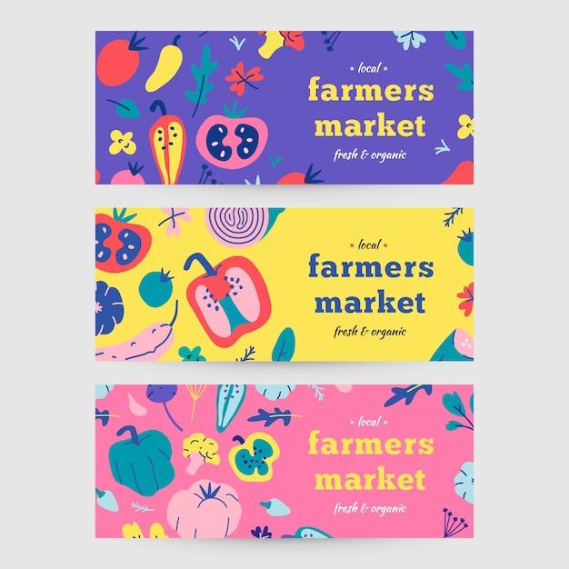 Banery dla rynku rolnego Premium Wektorów