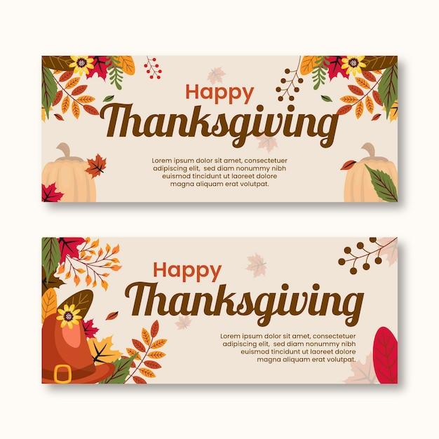 Banery Dziękczynienia W Płaskiej Konstrukcji Darmowych Wektorów