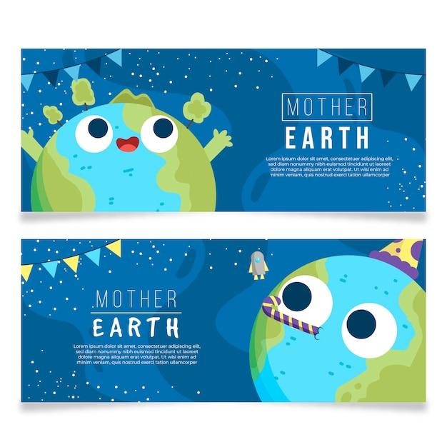 Banery Dzień Matki Ziemi Z Planety Darmowych Wektorów