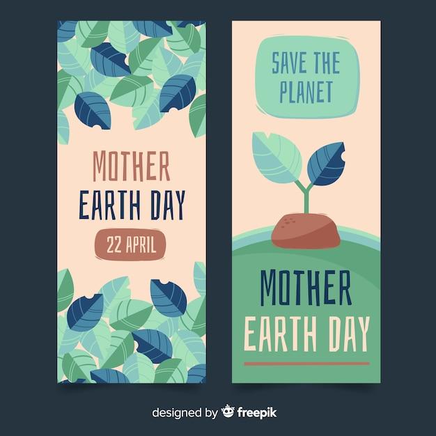 Banery Dzień Matki Ziemi Darmowych Wektorów