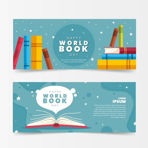 Banery Dzień Miłośników Płaski Kształt Książki Premium Wektorów