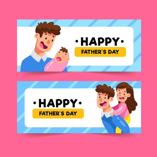 Banery Dzień Ojca Darmowych Wektorów