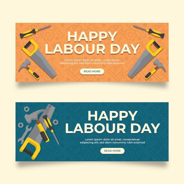 Banery Dzień Pracy Urządzony Darmowych Wektorów