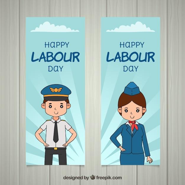 Banery Dzień Pracy Z Pracownikami Darmowych Wektorów