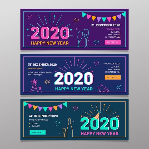 Banery Imprezowe Nowy Rok 2020 W Płaskiej Konstrukcji Darmowych Wektorów