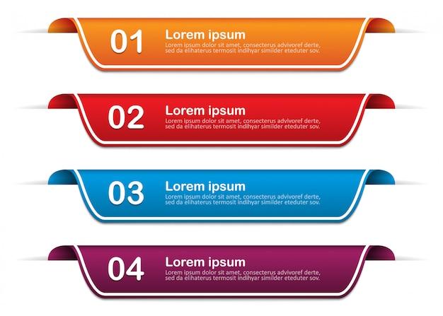 Banery Infographic Z 4 Opcjami, Kroki. Szablon. Ilustracja Premium Wektorów