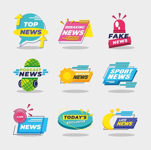 Banery Informacyjne I Etykiety Ikon Scenografia, Komunikacja Kanału Technologicznego I Ilustracja Motywu Telewizyjnego Premium Wektorów