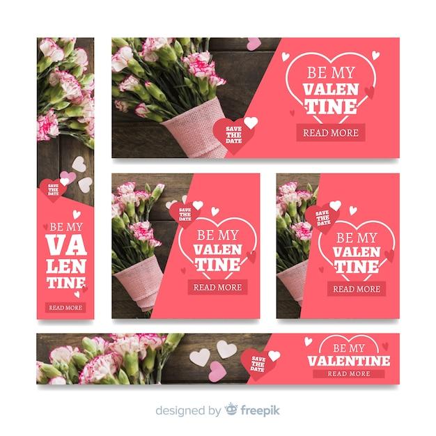 Banery internetowe sprzedaży Walentynki Darmowych Wektorów