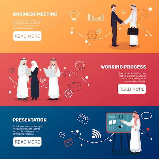 Banery islamskich biznesmenów Darmowych Wektorów