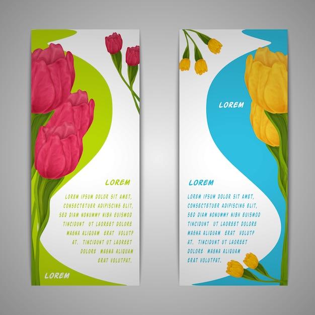 Banery kwiatów tulipanów Premium Wektorów