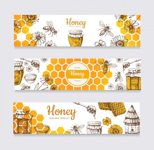 Banery Miodowe. Vintage Ręcznie Rysowane Pszczoły I Miodowy Kwiat Premium Wektorów
