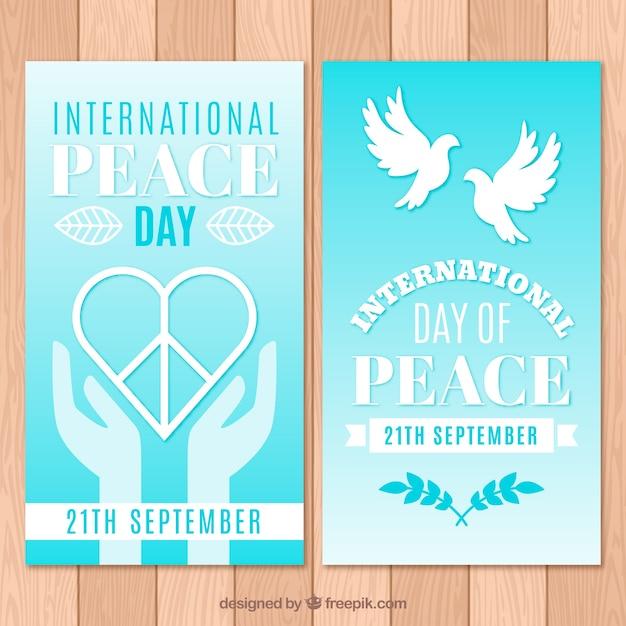 Banery Na Dzień Pokoju Z Sercem I Gołębi Darmowych Wektorów