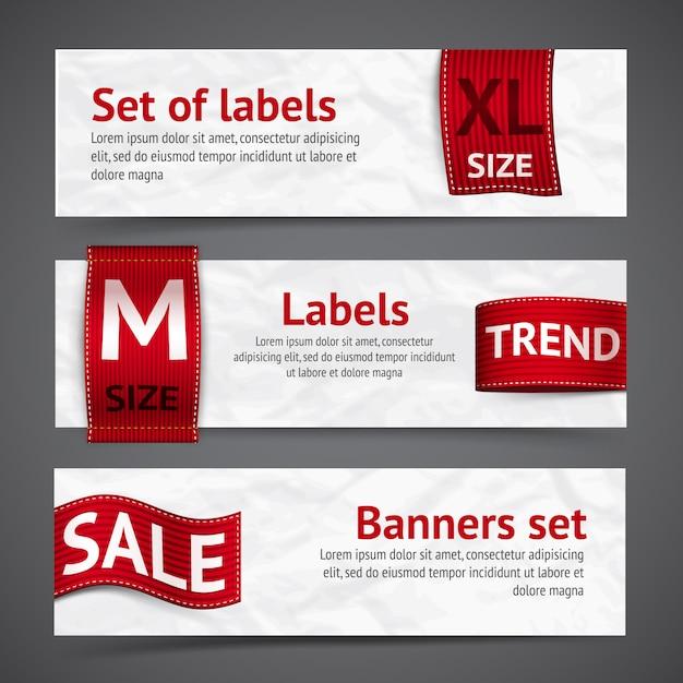 Banery na etykiety odzieżowe Darmowych Wektorów