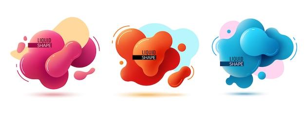 Banery O Płynnym Kształcie. Płynne Kształty Abstrakcyjne Elementy Kolorystyczne Farba Formy Memphis Graficzne Tekstury 3d Nowoczesny Design Premium Wektorów