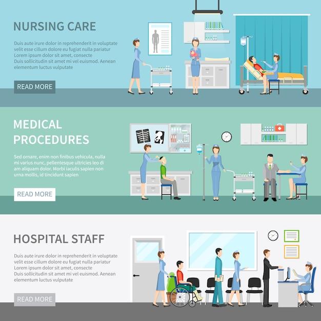 Banery opieki zdrowotnej pielęgniarki Darmowych Wektorów