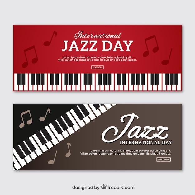 Banery Piano Jazz Darmowych Wektorów