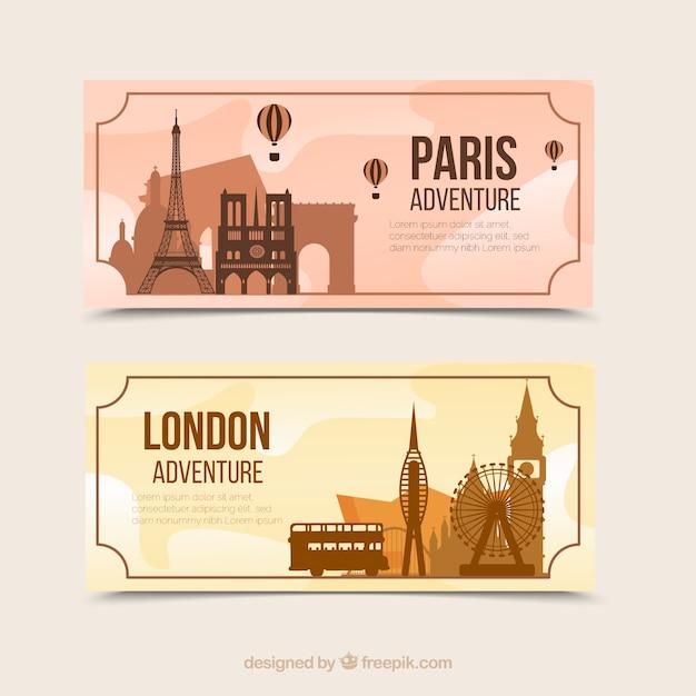 Banery płaskie paryż i londyn Darmowych Wektorów