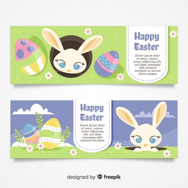 Banery Płaskie Wielkanocne Dzień Darmowych Wektorów