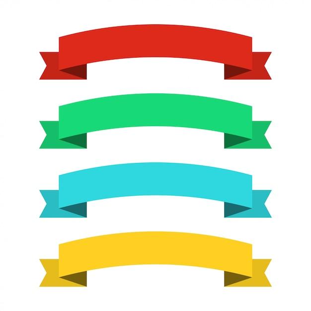 Banery Płaskie Wstążki. Wstążki W Płaskiej Konstrukcji. Wektor Zestaw Kolorowych Wstążek Premium Wektorów