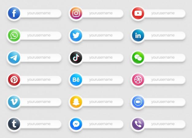Banery Popularne Media Społecznościowe Dolna Trzecia Ikona Premium Wektorów