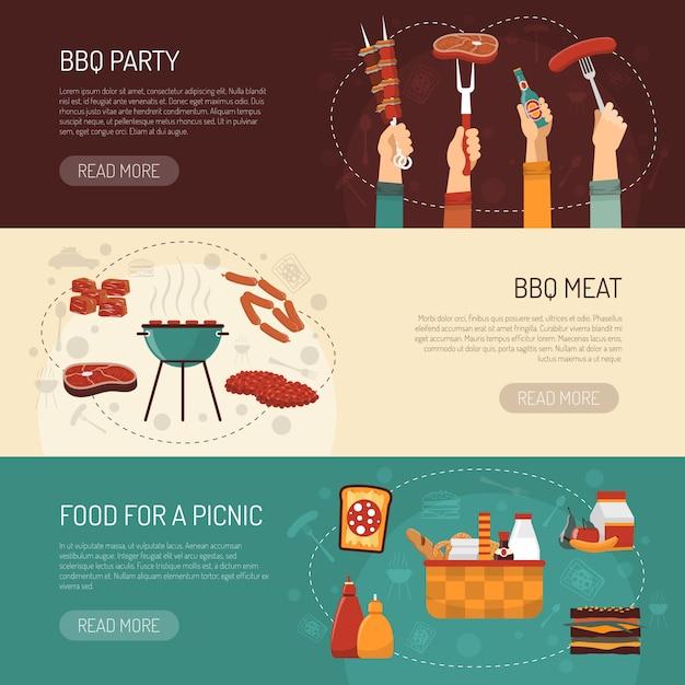 Banery poziome barbecue party Darmowych Wektorów