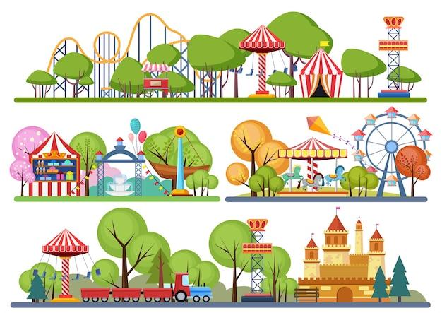 Banery Poziome Parku Rozrywki. Wolumetryczna Rejestracja Kolorów Premium Wektorów