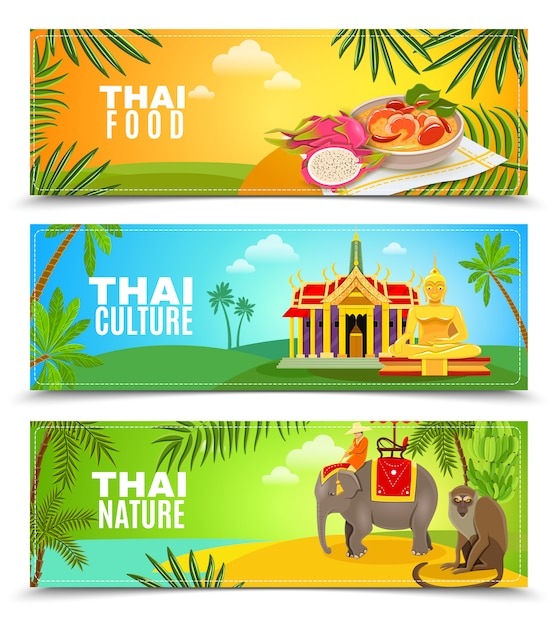 Banery poziome tajlandii Darmowych Wektorów