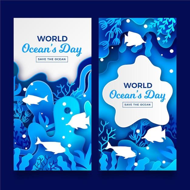 Banery światowy Dzień Oceanów W Stylu Papieru Darmowych Wektorów
