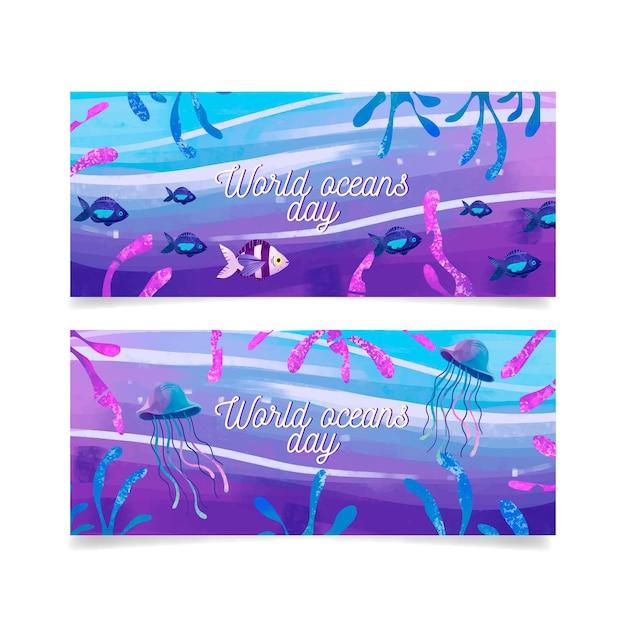 Banery światowy Dzień Oceanów Darmowych Wektorów