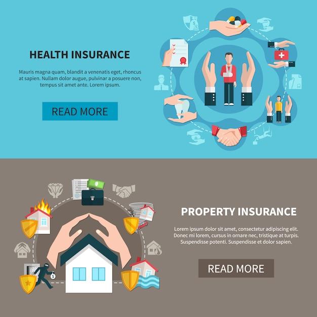 Banery ubezpieczeń majątkowych i zdrowotnych Darmowych Wektorów