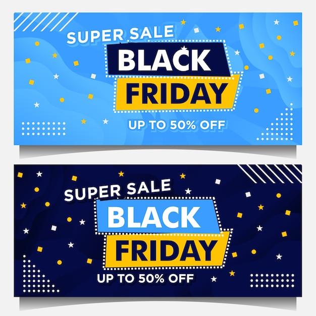 Banery Wydarzenia Czarny Piątek I Szablon Tła W Kolorze Niebieskim Ze Stylem Gradientu Premium Wektorów