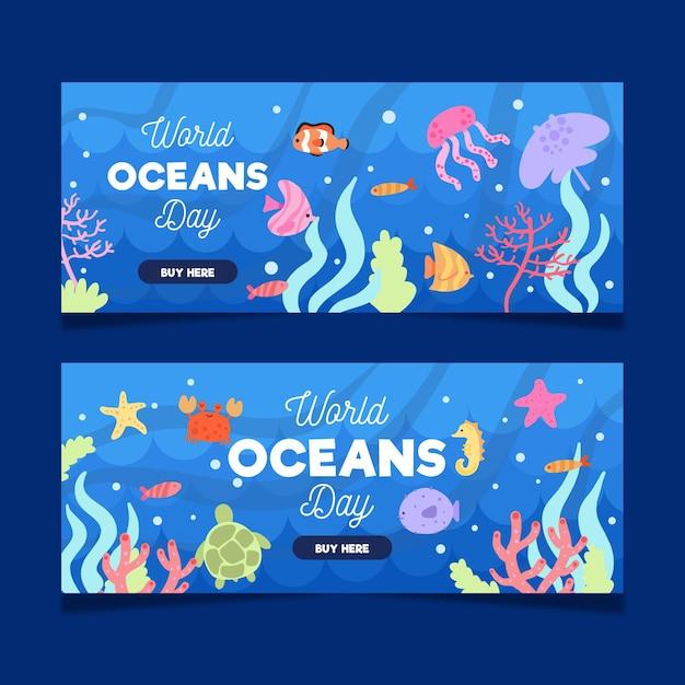 Banery Z Okazji światowego Dnia Oceanu Z Rybami I Stworzeniami Morskimi Darmowych Wektorów