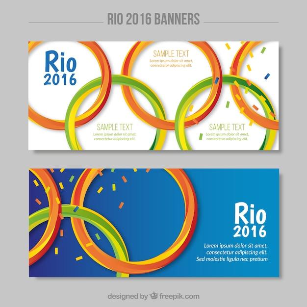 Banery z symbolu olimpijskiego gry Darmowych Wektorów