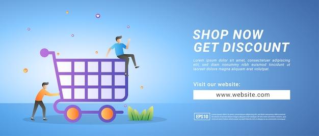Banery Zakupów Online, Promocje Rabatowe Dla Lojalnych Klientów. Banery Reklamowe Premium Wektorów