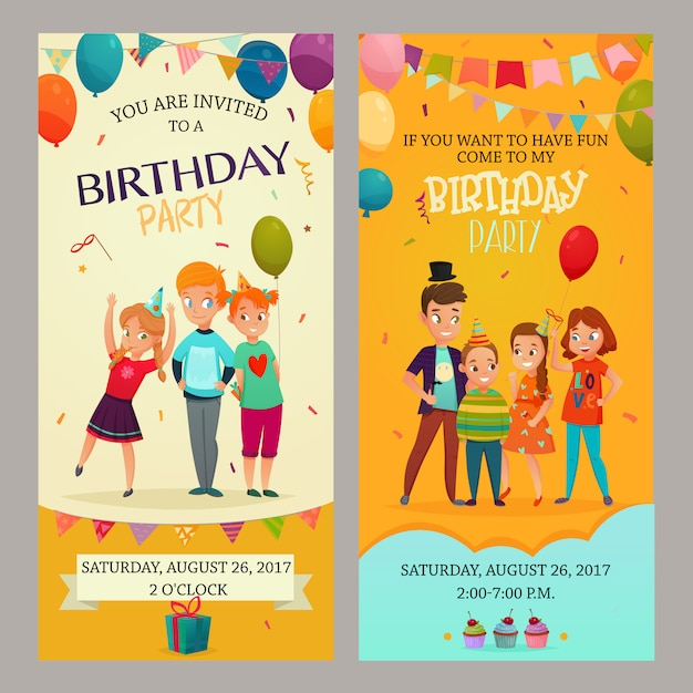 Banery zaproszenie na przyjęcie dla dzieci zestaw Darmowych Wektorów