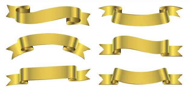 Banery złote wstążki Premium Wektorów