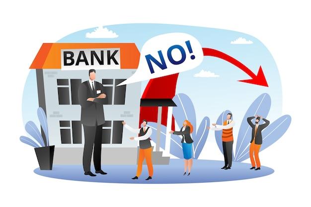 Bank Kryzys Finansowy, Ilustracja Upadku Gospodarczego. Brak Finansowania Pożyczek I Kredytów, Bankructwo Przedsiębiorstw. Koncepcja Awarii Finansów Bankowych, Zasoby Finansowane Przez Gospodarkę. Inwestycje, Depresja. Premium Wektorów