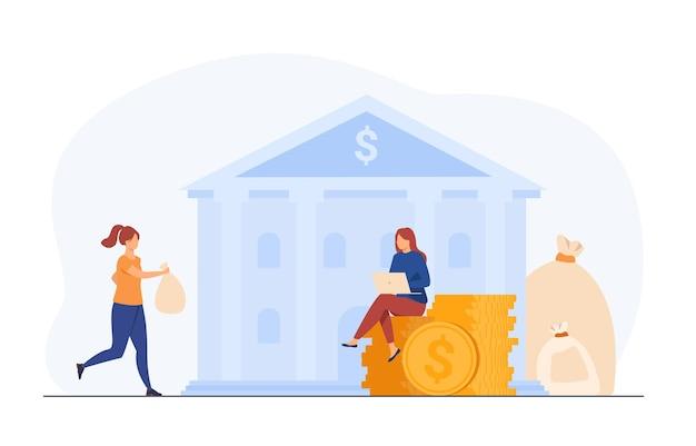 Bankier Zabierający Klientów Pieniądze Za Oszczędzanie. Handlowiec Lub Broker Z Laptopem Pracujący Na Gotówkę. Ilustracja Kreskówka Darmowych Wektorów