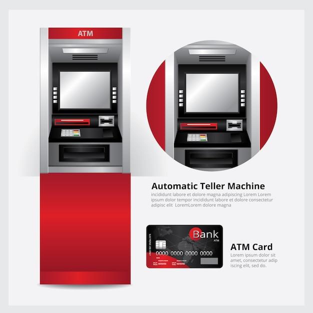Bankomat Z Kartą Bankomatową Premium Wektorów
