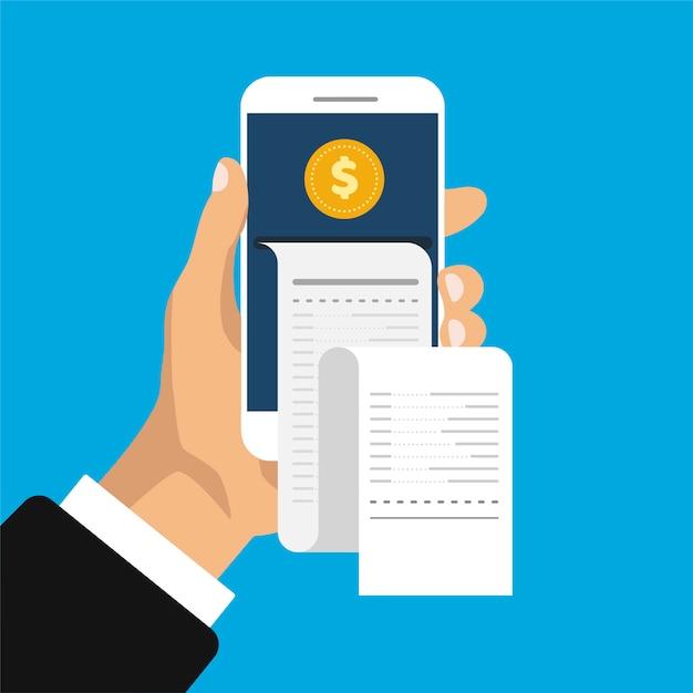 Bankowość Mobilna I Płatności. Ręka Trzyma Smartfon Z Paragonem I Monetami W Modnym Stylu Izometrycznym. Premium Wektorów