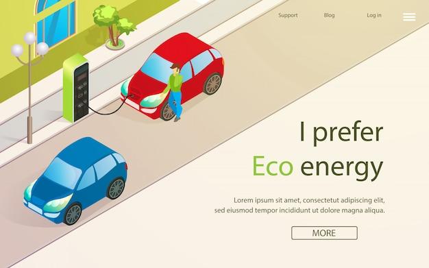 Banner Jest Napisany. Wolę Eco Enegry Cartoon. Premium Wektorów