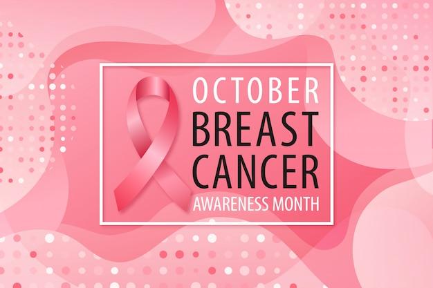 Banner na miesiąc świadomości raka piersi. Premium Wektorów