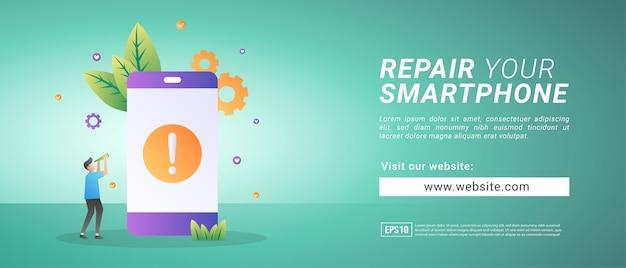 Banner Naprawia Uszkodzony Smartfon, Przywraca Błędne Urządzenie. Banery Reklamowe Premium Wektorów