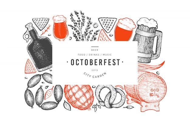 Banner octoberfest. ręcznie rysowane ilustracje. Premium Wektorów
