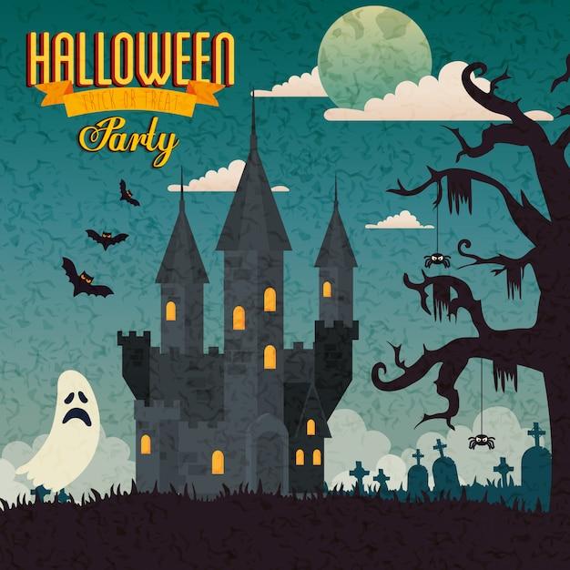 Banner Party Halloween Z Nawiedzonego Zamku I Ikony Premium Wektorów