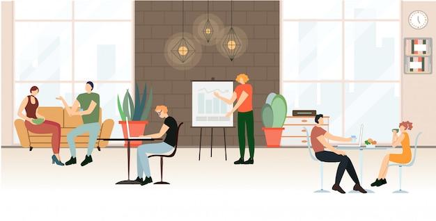 Banner reklamowy życie biurowe, mieszkanie z kreskówek Premium Wektorów