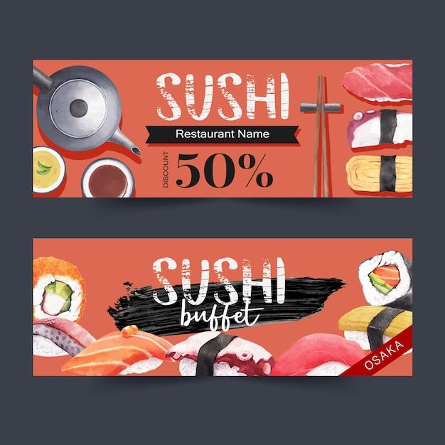 Banner restauracji sushi Darmowych Wektorów
